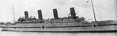 The Britannic, painted up as a hospital ship for WWI.