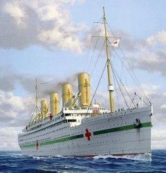 A captivating painting of HMHS Britannic!  Dare I say, she looks even more beautiful as a hospital ship than she ever would have as a transatlantic luxury liner.