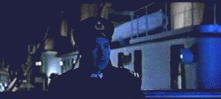 From James Cameron's 'Titanic'; First Officer Murdoch spots the iceberg for himself.