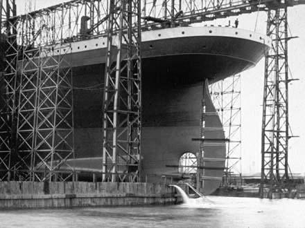 In retrospect, the TITANIC's stern sticking out of the gantry.
