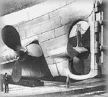 A shot of the TITANIC's infamous tripple screw configuration in drydock.