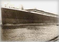 The TITANIC, just after sliding out of her gantry.