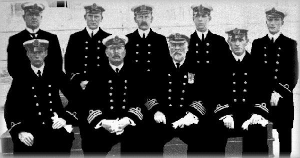 (I'm not certain, but I think..;) TOP ROW: Chief Officer Wilde, Second Officer Lightoller, Third Officer Pitman, Fourth Officer Boxhall, Sixth Officer Moody  BOTTOM ROW: Fifth Officer Lowe, Pursor McElroy, Captain Smith, & First Officer Murdoch.