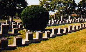 Rows of TITANIC graves.