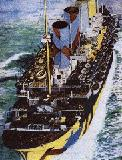 A painting of the Olympic disguised in her war paints.