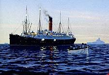 A painting showing the Carpathia waiting among the ice for lifeboats to arrive.