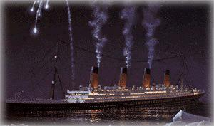 A painting of the TITANIC sending up a white rocket.
