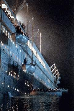 From James Cameron's 'Titanic'; lifeboats being lowered from the starboard side.
