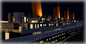 A computer generated image of the TITANIC's starboard stern section at night.