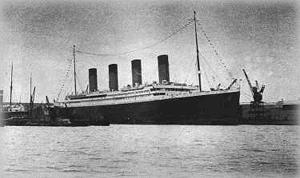 This might not even be the TITANIC, it could be the Olympic.  If it is the TITANIC, this is probably her leaving Harland & Wolff.