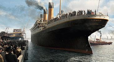 From James Cameron's 'Titanic'; this shows the stern section moving away from the quay in Southampton at the beginning of her voyage.