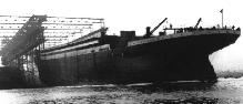 TITANIC's hull being launched, May 31st 1911.